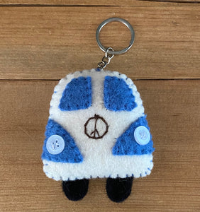 Fair Trade Felt Wool Bus Keychain