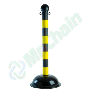 Yellow and Black Striped Custom Striped Crowd Control Plastic Stanchions