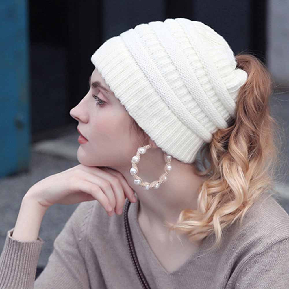 d7d0fd542ff41f Load image into Gallery viewer, CuteBeanie™ Soft Knit Ponytail Beanie ...