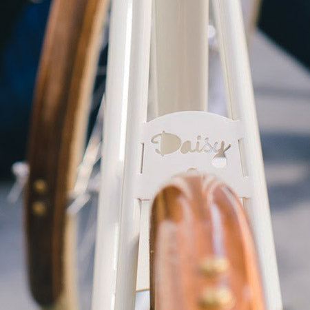 Heritage Daisy nameplate | Heritage Bicycles and Coffee