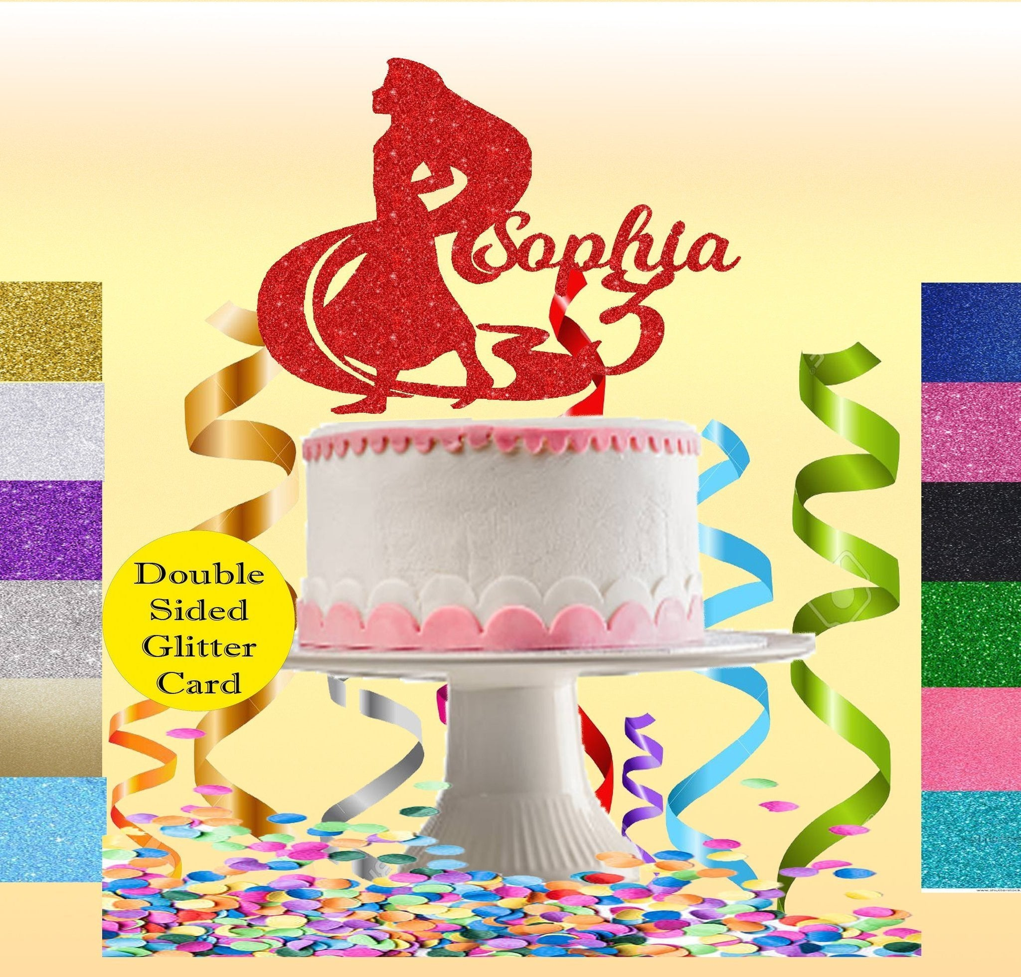Load Image Into Gallery Viewer Princess Rapunzel Glitter Card Cake Topper Any Age 7 8