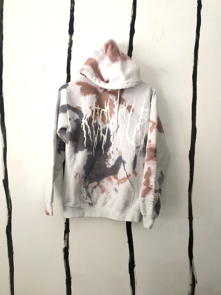 ***NEW- ALR EnviroMETAL Hoodie in BROWN AND NAVY BLOTCH  - 1 of a kind unisex SMALL**
