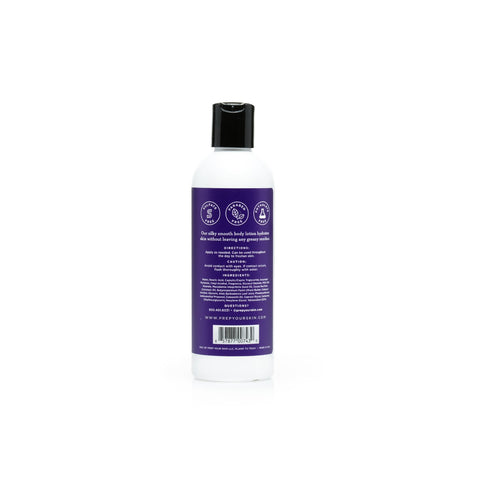 Lavender Vanilla Body Lotion by PREP Your Skin, Back of Bottle