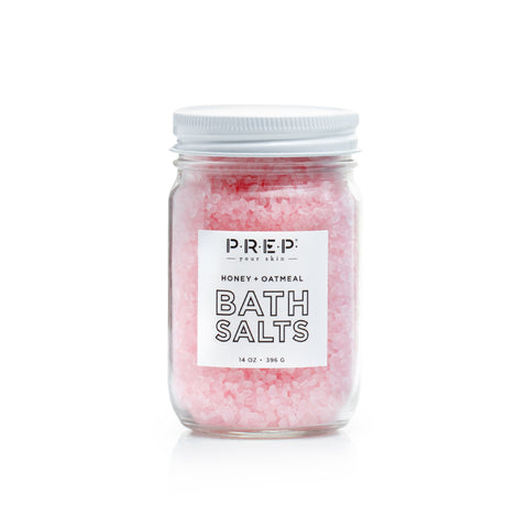 Honey Oatmeal Bath Salts by PREP Your Skin, Glass Jar, Pink