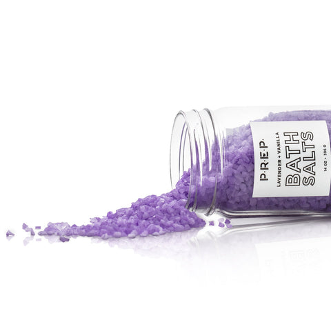 Lavender Vanilla Bath Salts by PREP Your Skin, Glass Jar, Open