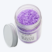Lavender Vanilla Bath Salts by PREP Your Skin, Glass Jar, Top