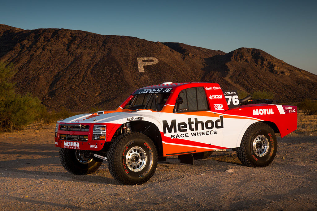 Jesse Jones Mason Trophy Truck with Method Race Wheels at sunset.