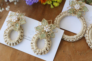 Light Green Three Layer Flower with Summer Hoop Earrings