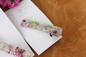 Rectangle Flower Hair Clip - Silver