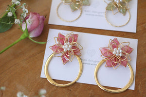 Rose Pompadour Pink Three Layer Flower with Hoop Earrings