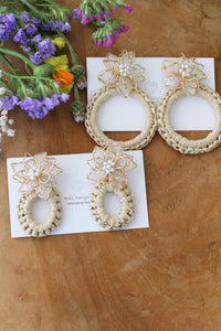 White Three Layer Flower with Summer Hoop Earrings