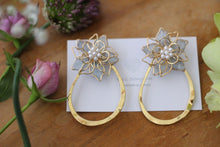 Light Blue Three Layer Flower with Hoop Earrings No.2