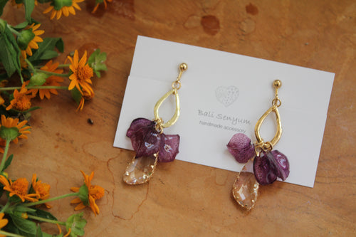 Violet Hydrangea Petals Earrings