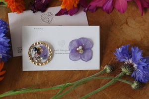 Hydrangea and Flower Medallion Titaniumu pierce (チタンピアス)- No.44