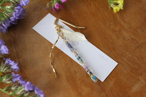 Flower Ponytail Hook - Blue Stick with Leaf