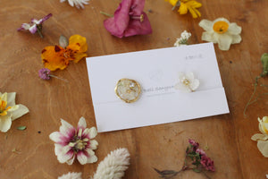 Hydrangea and Flower Medallion Gold Plated Clip-on (イヤリング)- No.33