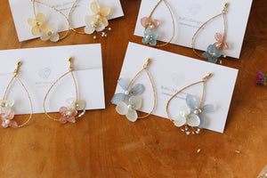 Teardrop Hoop Earrings with Hydrangeas - Limited Item No.2