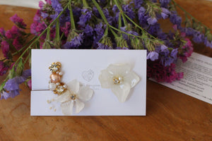 Asymmetrical Hydrangea Earrings - Clip On and Titanium pierce チタンピアス No.4