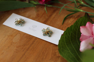Small Two Layer Green Earrings