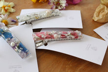 Rectangle Flower Hair Clip - Silver No.2