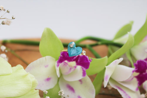 Hydrangea Ring Aqua Heart - Limited item