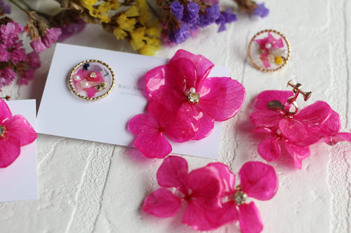 Asymmetrical Fuchsia Hydrangea Stud Earrings With Floral Medallions