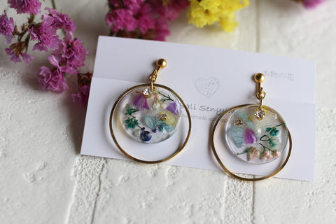 Hoop Earrings with Floral Medallions Using Real Flowers