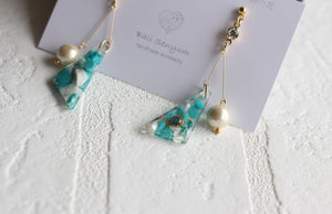 Triangular Turquoise Gemstone Earrings With Cotton Pearls