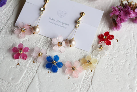 Dangling Sakura Earrings with Cotton Pearls