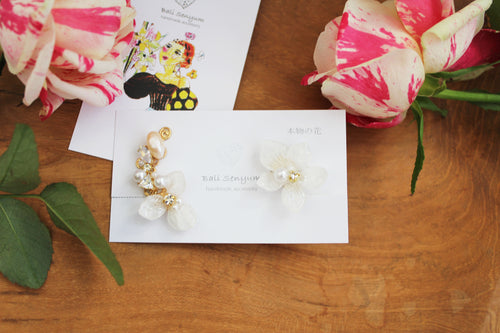 Asymmetrical Hydrangea Earrings - Clip On  イヤリング No.54