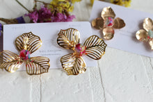 Golden Flower Earrings with Seashell Centers Large size