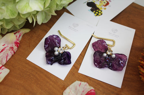 Violet Flower Ponytail Hooks - Hydrangea Hair Jewelry