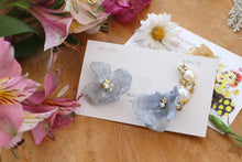 Asymmetrical Light Blue Hydrangea Earrings - Clip On and Titanium pierce (チタンピアス) - No.1