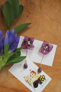 Violet Hydrangea & Amethyst Earrings -Titanium pierce (チタンピアス)