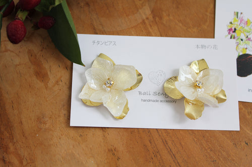 Large White Hydrangea Flower with Metal Petals -  No.6