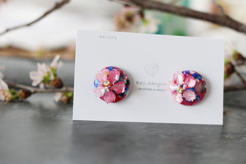 Sakura Earrings with Colorful Shell