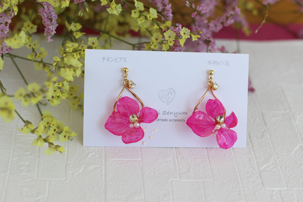 Fuchsia Hydrangea Earring with Baby's Breath #1