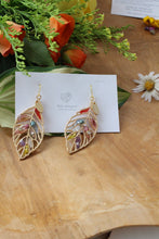 Leaf Earrings With Seasonal Flower Petals No.2