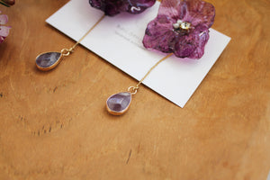 Violet Hydrangea & Amethyst Earrings No.2 -Titanium pierce (チタンピアス)