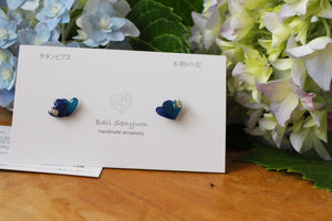 Double Heart-Shaped Hydrangea Earrings
