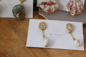 Sea Shell with Flower Earring- Clip On (イヤリング)- No.5