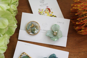 Hydrangea and Flower Medallion Clip-on (イヤリング)- No.102