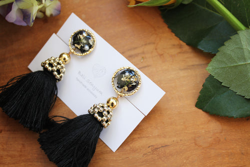 Black Tassel Earrings with Real Flowers