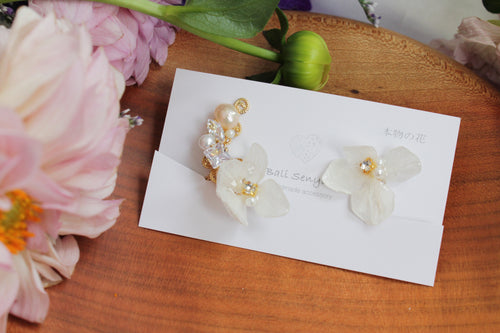 Asymmetrical Hydrangea Earrings - Clip On  イヤリング No.55