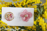 Pink Hydrangea and Flower Medallion Earring