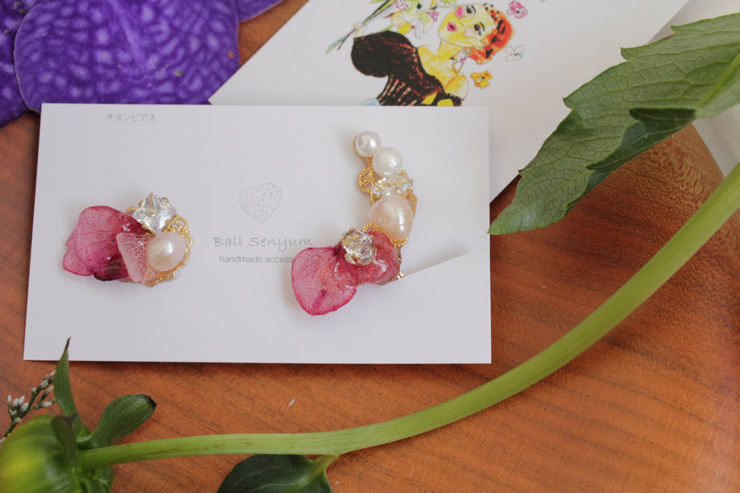 Asymmetrical Pink Hydrangea Earrings No.1