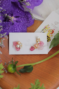 Asymmetrical Pink Hydrangea Earrings No.3