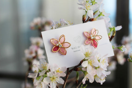 Medium Two Layer Sakura Earrings