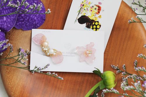 Asymmetrical Clear Pink Hydrangea Earrings - Clip On and Titanium pierce (チタンピアス) - No.3