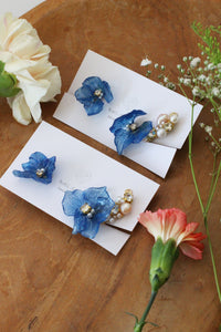 Asymmetrical Blue Hydrangea Earrings - Clip On  イヤリング No.2